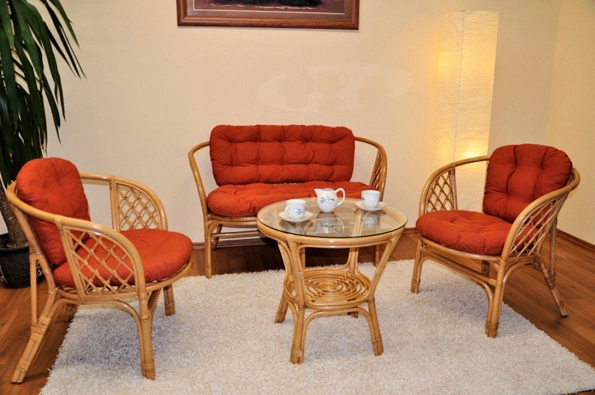Rattangruppe Janeiro , 2 Sessel + Tisch , honigfarben