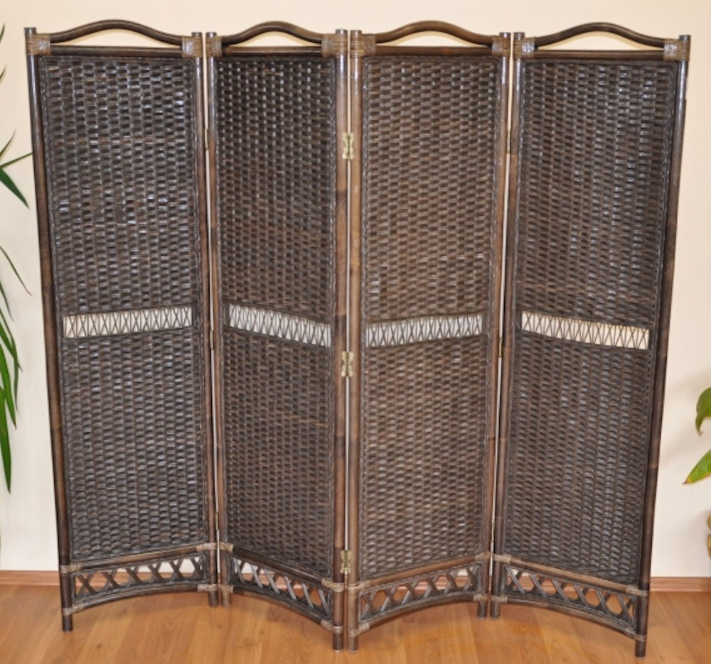 Rattan Paravent / Raumteiler 4 teilig , Fb. darkbrown