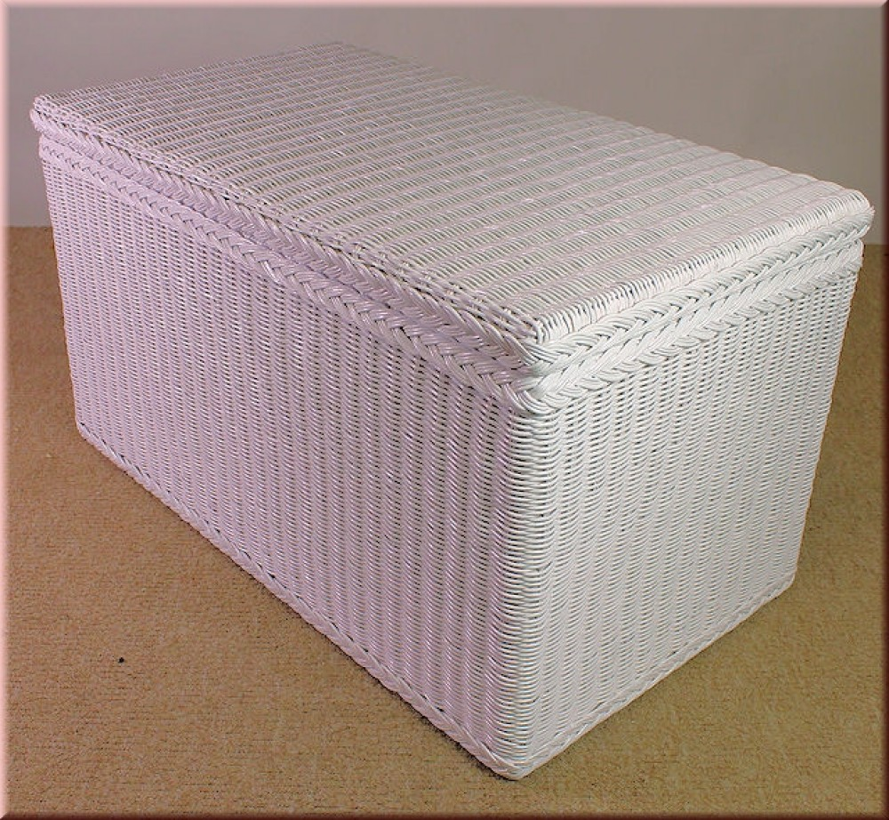 rattan w schetruhe rattantruhe 90x52x52 cm wei lack. Black Bedroom Furniture Sets. Home Design Ideas