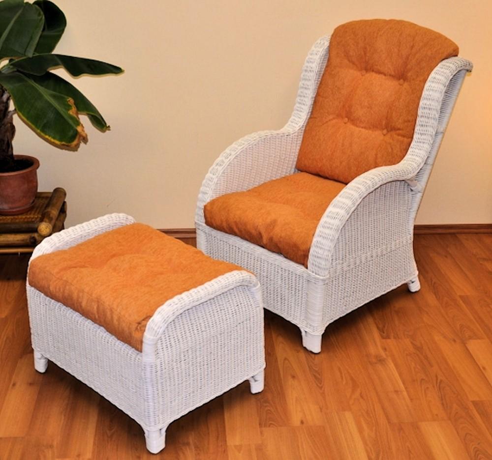 rattan ohrensessel rattansessel relexsessel hochlehner mit hocker inkl. Black Bedroom Furniture Sets. Home Design Ideas