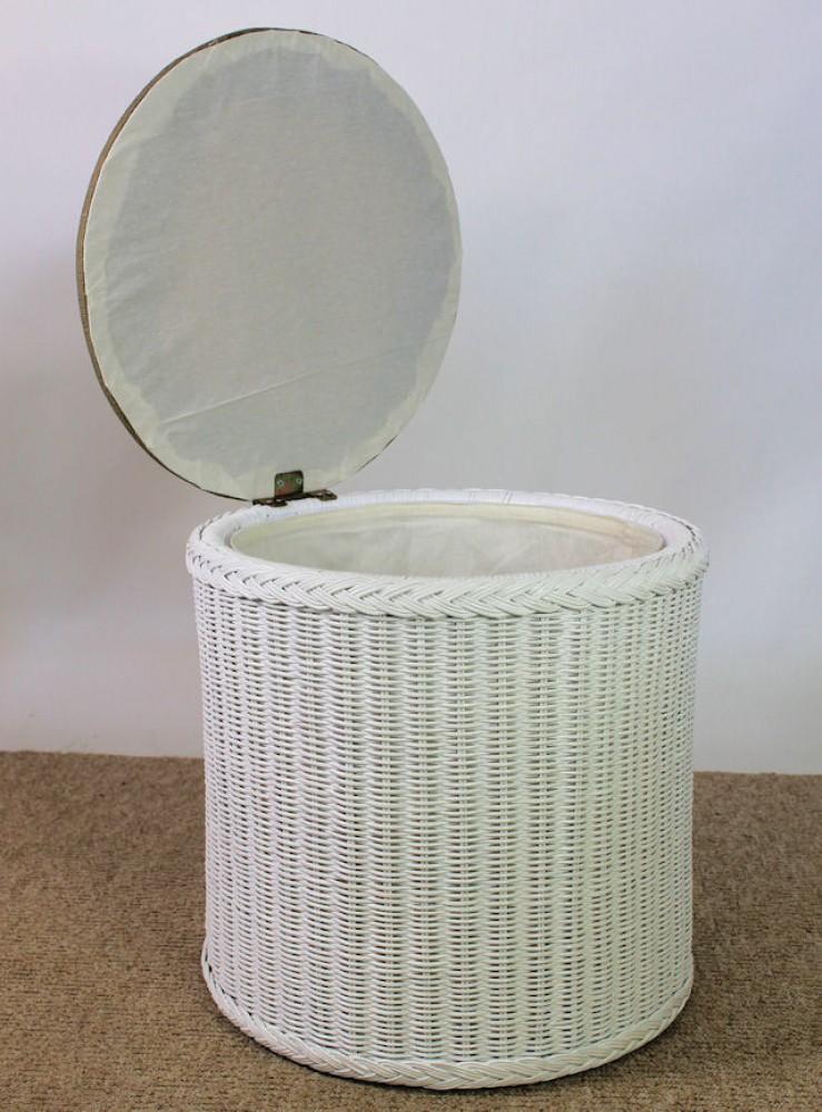 rattan w schekorb w schetruhe rund wei lackiert sitzpolster. Black Bedroom Furniture Sets. Home Design Ideas