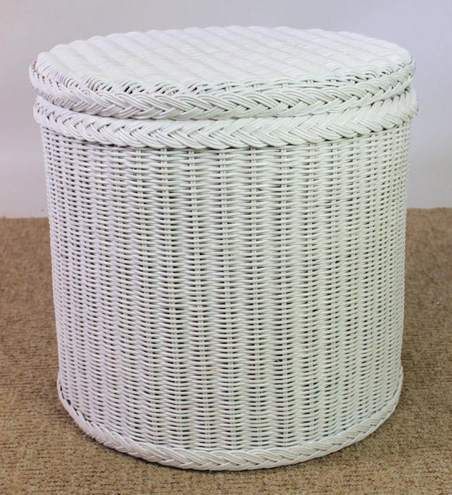 rattantruhe w schetruhe sitztruhe 81x41x47cm fb wei lack. Black Bedroom Furniture Sets. Home Design Ideas
