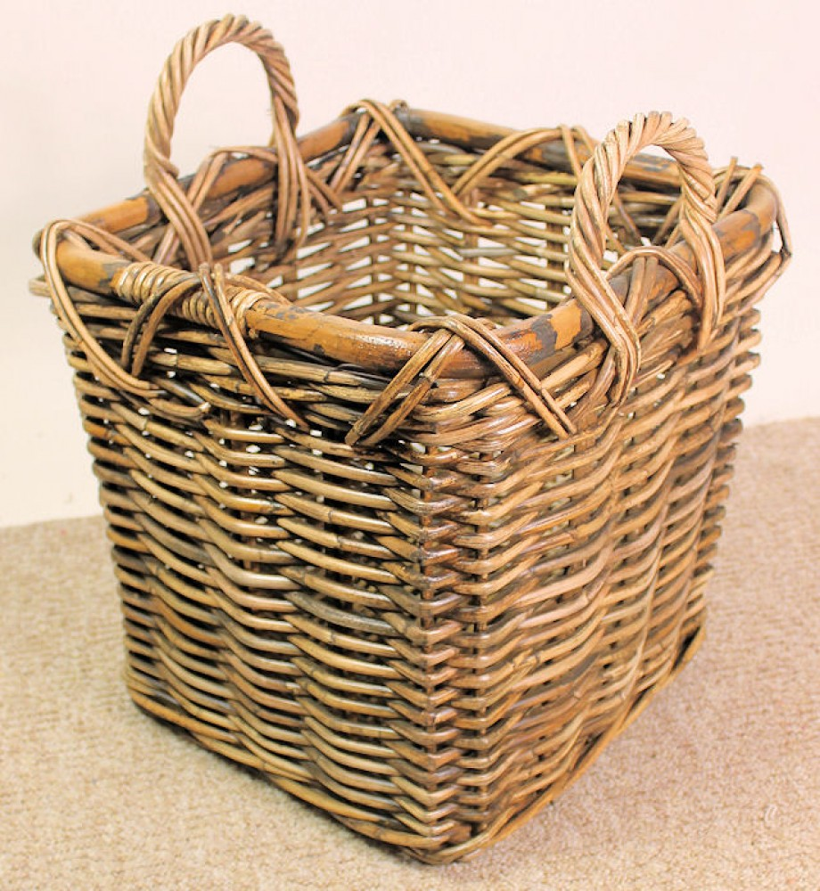 Rattan Kaminkorb / Holzkorb 38x38x36/44 Fb. brown