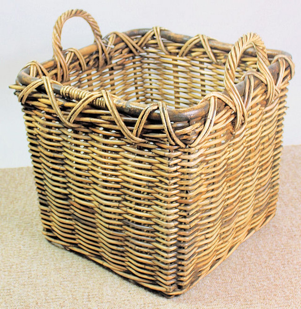 Rattan Kaminkorb / Holzkorb 47x47x40/49 Fb. brown