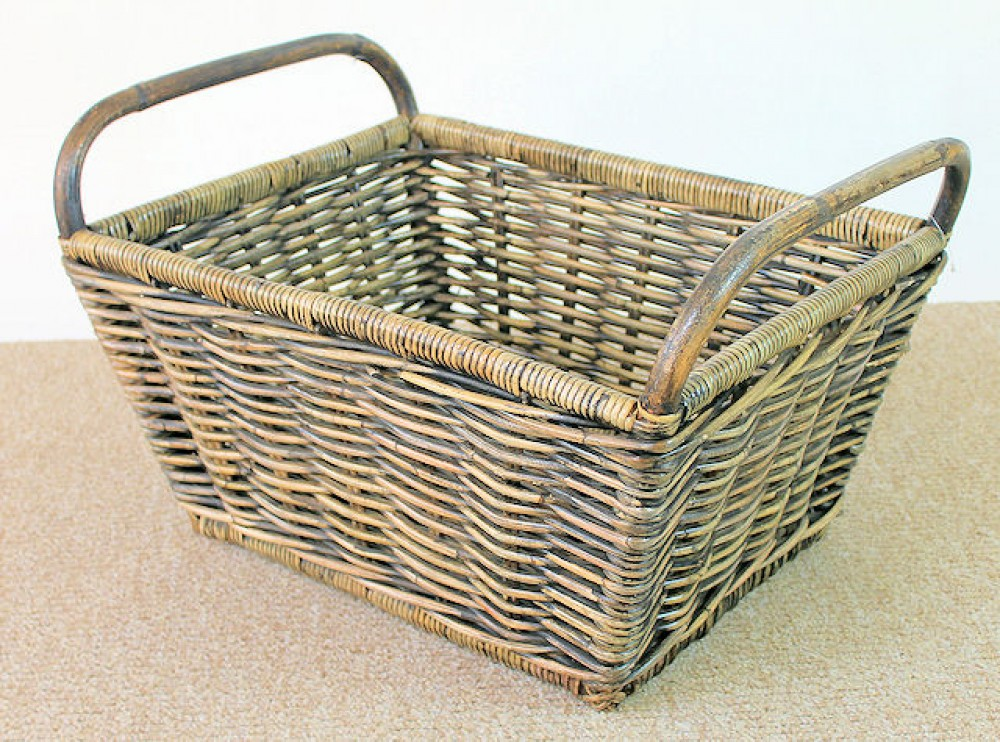 Rattan Kaminkorb / Holzkorb Fb. black wash