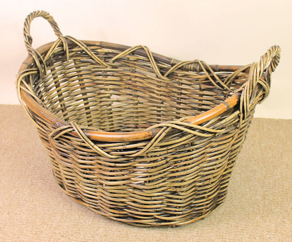 Rattan Kaminkorb , Holzkorb brown wash , 62 x 52 cm H 35/43 cm