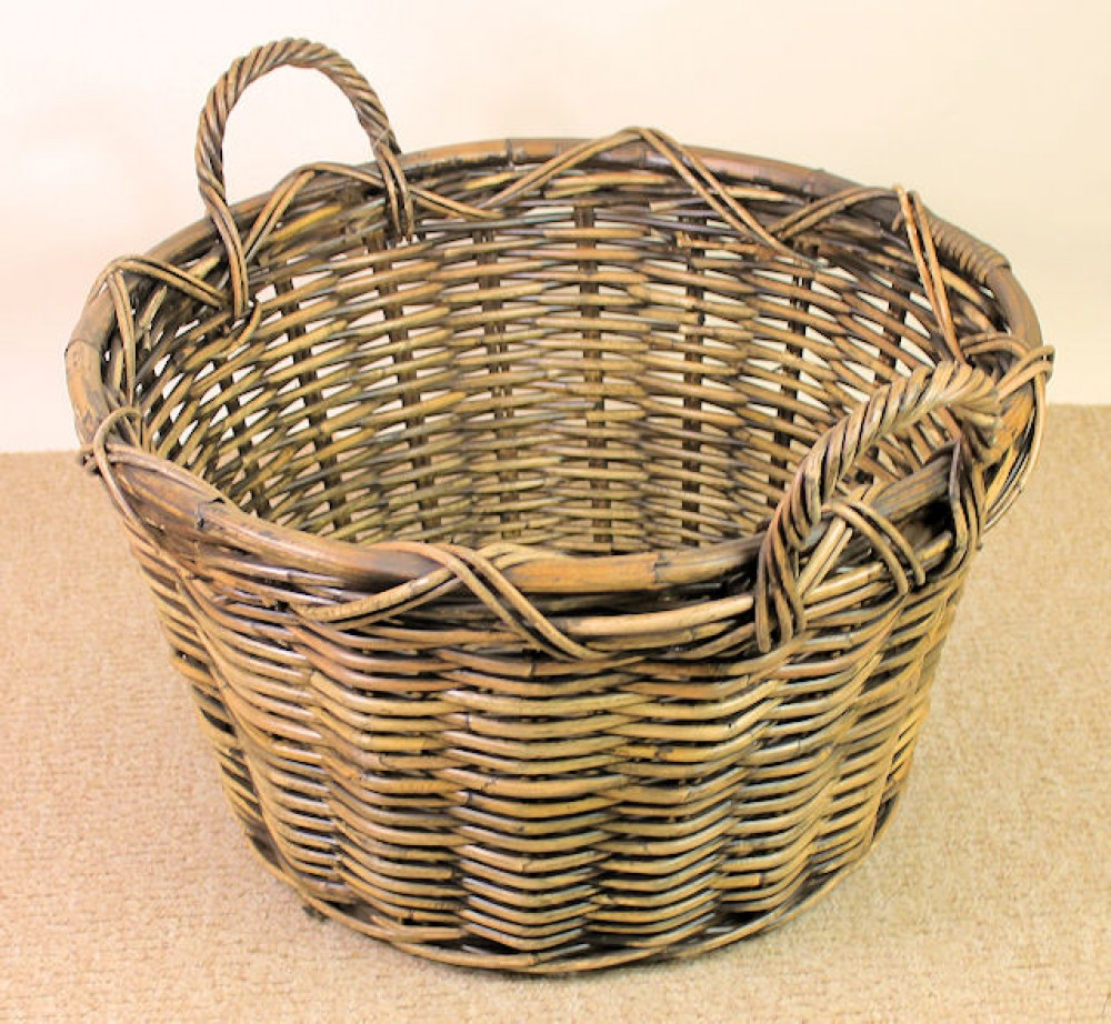 Rattan Kaminkorb , Holzkorb brown wash , D 58 cm H 33/42 cm