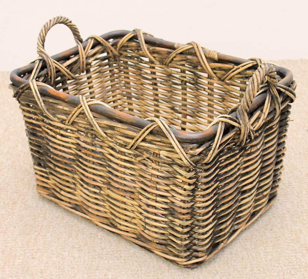 Rattan Kaminkorb Holzkorb 52x38x36cm Brown Wash