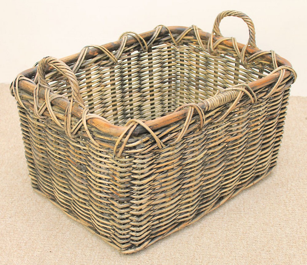Rattan Kaminkorb Holzkorb 63x48x44cm Brown wash