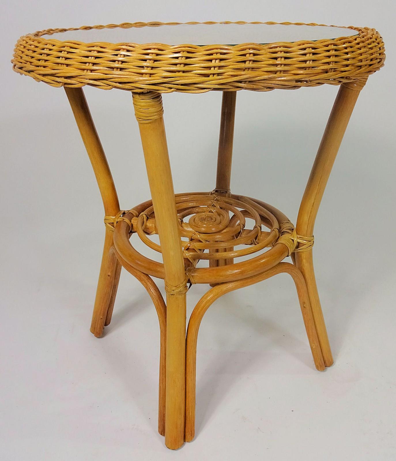 rattantisch rattan couchtisch rattan beistelltisch inkl glasplatte gr d 50 cm. Black Bedroom Furniture Sets. Home Design Ideas