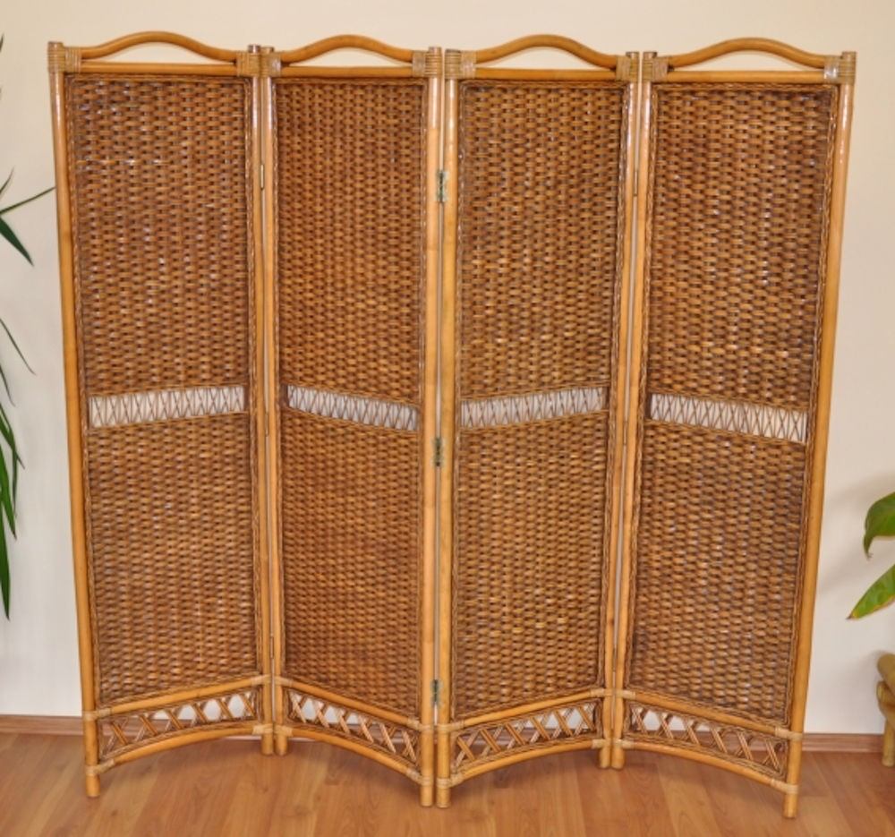 Rattan Paravent / Raumteiler 4 teilig , Fb. brown wash